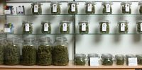 Lakewood, CO - MARCH, 4:   Jars of medical cannabis line the shelves inside a Good Meds medical cannabis center in Lakewood, Colorado, U.S., on Monday, March 4, 2013.   This is at a Good Meds medical cannabis center in Lakewood, and is one of the facilities that Kristi Kelly, Co-Founder of Good Meds Network, operates.  (Photo by Matthew Staver/For The Washington Post via Getty Images)