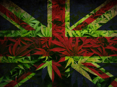 British flag with cannabis background