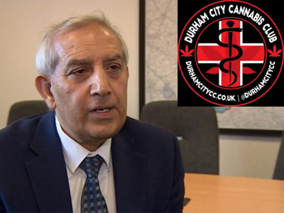 Police and Crime Commissioner Hardyal Dhindsa and Durham cannabis club logo