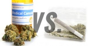 recreational weed or medicinal cannabis in a bottle