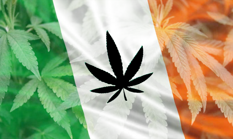 Ireland Flag with Weed Leaf