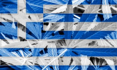 Greek Flag with Cannabis Leaves