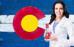 Nurse with cannabis bong in front of colorado flg