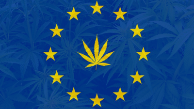 European Union Flag with Cannabis Leaves for Stars and Cannabis in background