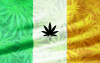 Cannabis Irish Flag with weed leaves