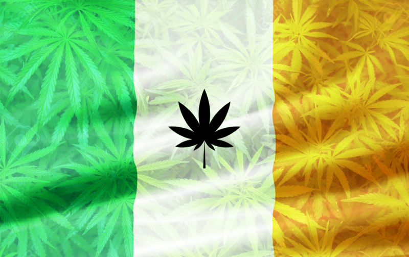 Cannabis Irish Flag with weed leaves