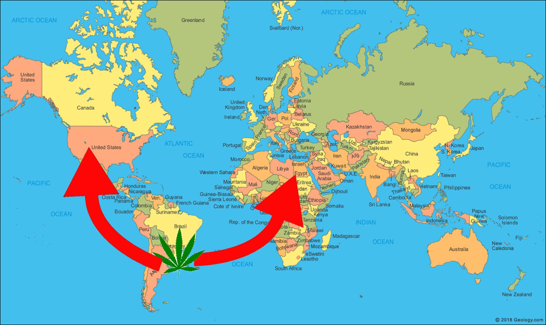 Uruguay world map exporting medical cannabis