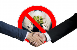 business hands shaking over ban sign of home grown cannabis