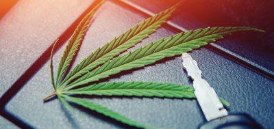 Cannabis leaf on dashboard next to car key