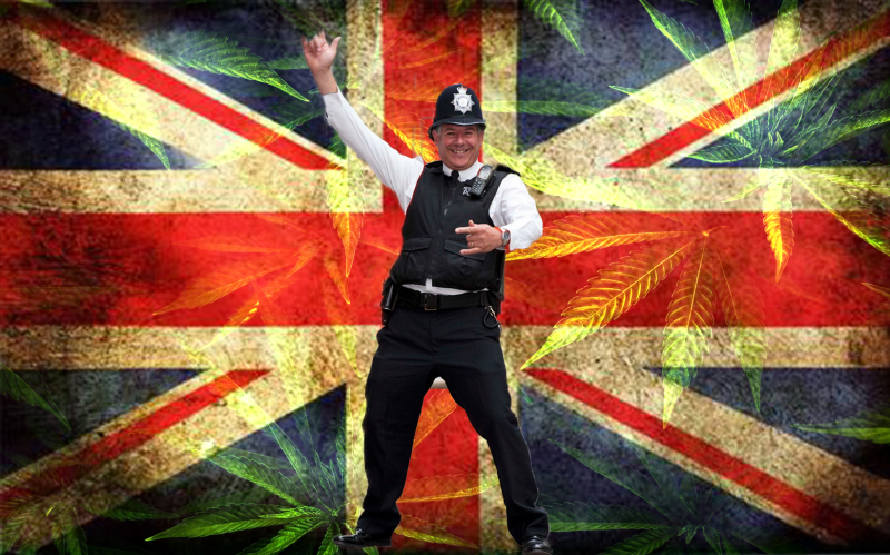 British Police Man smiling on Union Jack cannabis background