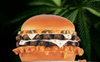 Carl's Jr Rocky Mountain High cheeseburger on cannabis leaves background