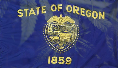 Oregon State Flag with cannabis leaves on the flag as well