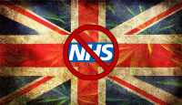 Union Jack with Cannabis leaves showing that the NHS will not prescribe cannabis