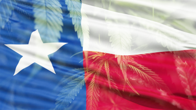 Texas Flag waving in the wind with a cannabis leaf in the background