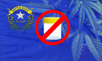 Nevada state flag with cannabis in background; nevada bans pre-employment cannabis tests