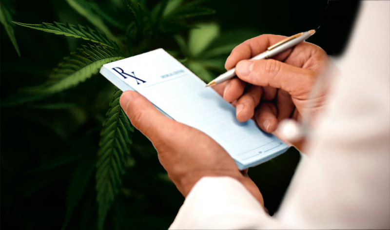 Doctor writing out a prescription for medical marijuana