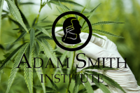 Image Contains: gloved hand holding cannabis plant with Adam Smith Institute logo