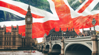 Houses of Parliament and London Bridge with Union Jack British Flag in Background with Cannabis leaves