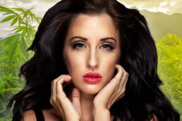 Kerri Parker model shot looking into camera: white model pouting: medical cannabis brain tumour