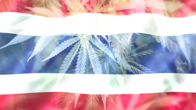 Thailand national flag waving in the wind with medical marijuana cannabis plants on the flag